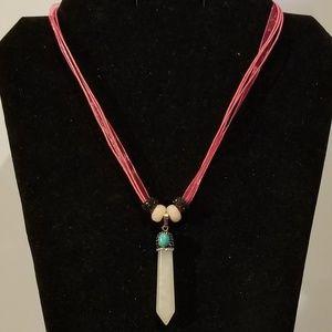 Rose Quartz Pave Crystal Pendulum Necklace